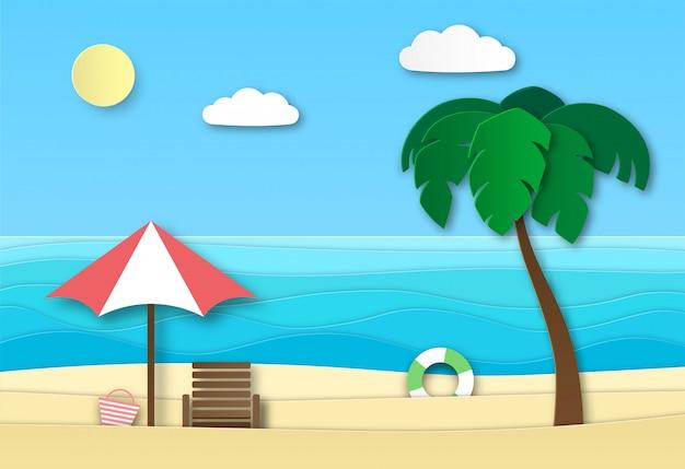 Praia do mar de origami. paisagem abstrata de férias de verão com areia, ondas do mar e sol. verão relaxar arte de papel 3d