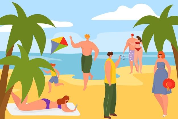 Praia do mar de verão com areia costa ilustração vetorial plana feliz homem mulher personagem relaxar no oceano n ...