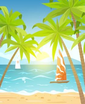 Praia do mar e espreguiçadeiras. seascape, ilustração de férias com navios à vela, palmeiras e nuvens