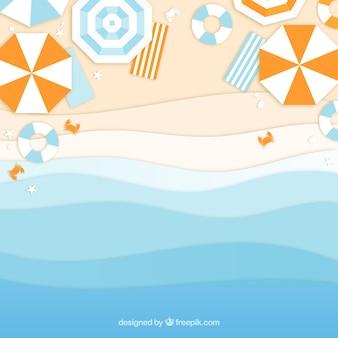 Praia do topo com estilo de papel