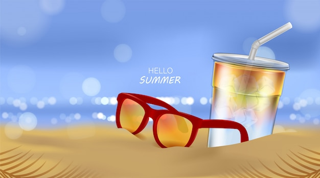 Praia do verão e luz solar do mar, cocktail de refrigerante e óculos de sol no fundo da praia na ilustração 3d