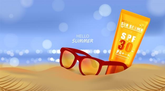 Praia do verão e luz solar do mar, creme protetor solar e óculos de sol no fundo da praia na ilustração 3d