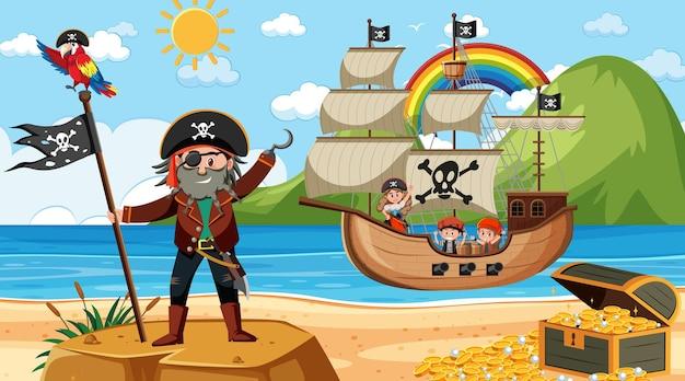 Praia durante o dia com o personagem de desenho animado de crianças piratas no navio