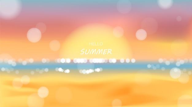 Praia e mar luz solar, ilustração vetorial de férias de verão