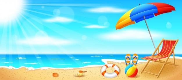 Praia e mar tropical com sol brilhante