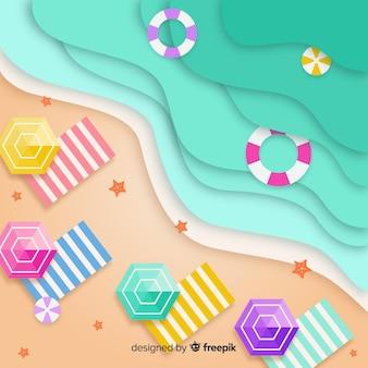 Praia em estilo de papel