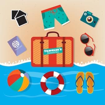 Praia equipamentos ilustração