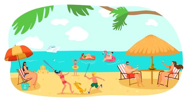 Praia feliz verão férias em família no mar