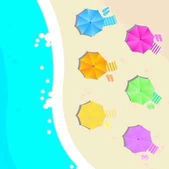 Praia, guarda-chuva, fundo, desenho
