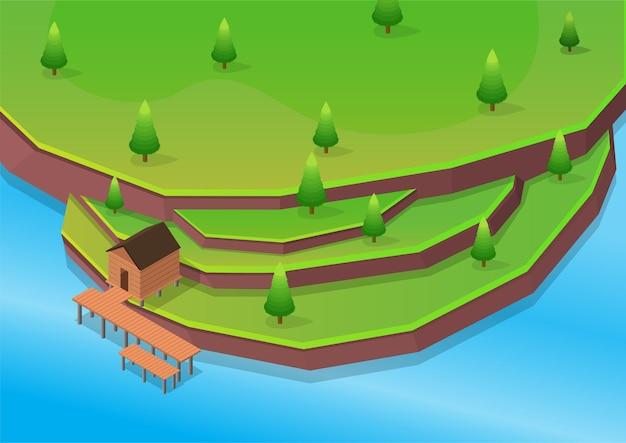 Praia isométrica com casa de madeira em terraços