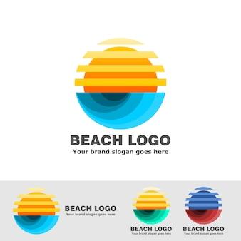 Praia logotipo listra sol e onda do mar