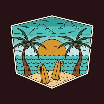 Praia, mar, férias de verão, linha, distintivo, patch, gráfico, pin