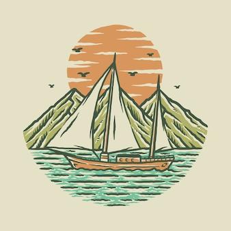 Praia mar natureza gráfico ilustração arte t-shirt design