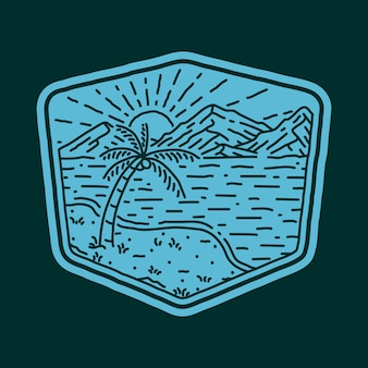 Praia mar natureza selvagem linha distintivo remendo pin gráfico ilustração