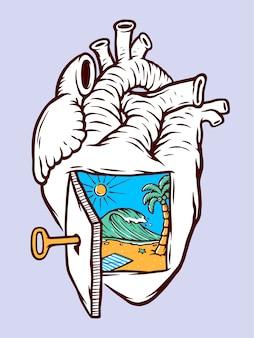 Praia na minha ilustração do coração Vetor Premium