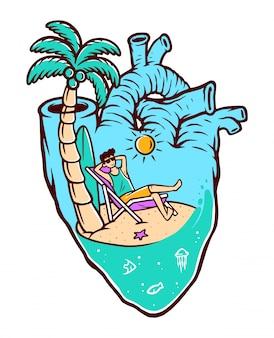 Praia na minha ilustração do coração
