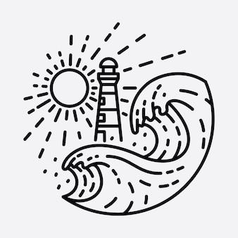 Praia natureza farol aventura linha selvagem distintivo patch pin ilustração gráfica arte design de t-shirt