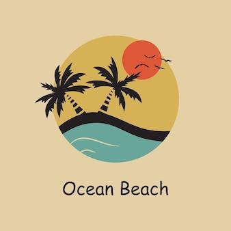 Praia oceânica - tipografia para design de roupas, camisetas. palma, sol, gaivota, oceano, onda. gráficos para imprimir o produto e o logotipo da empresa. ilustração vetorial.