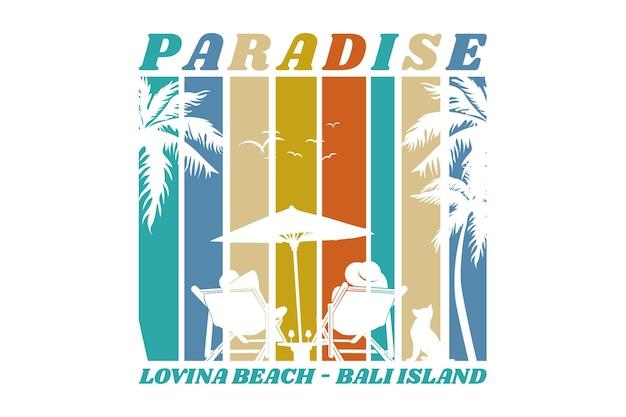 Praia paradisíaca, design elegante em estilo retro Vetor Premium