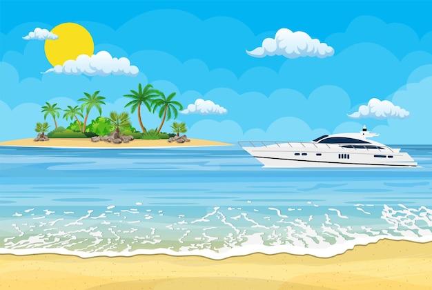 Praia paradisíaca do mar com iates e palmeiras.