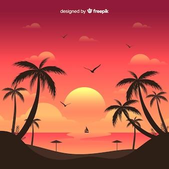 Praia, pôr do sol, paisagem, fundo