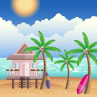 Praia quente de verão com palmeiras e casa