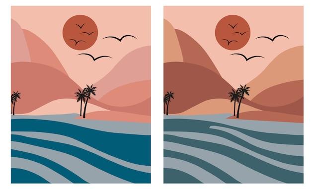 Praia romântica rosa com palmeiras e mar azul ao amanhecer.