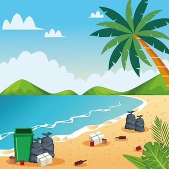 Praia suja com latas e garrafas