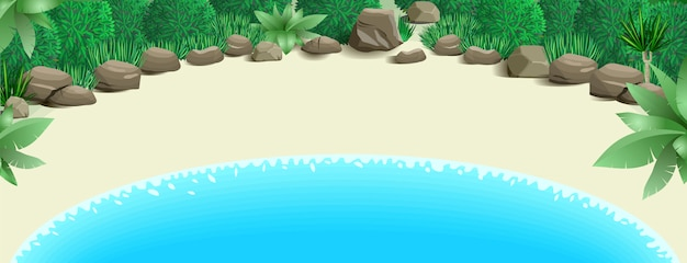 Praia tropical, com, baía
