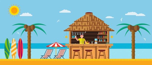 Praia tropical com bar na praia, férias de verão na areia quente com águas claras.
