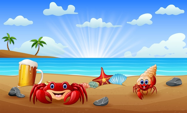 Praia tropical com caranguejos na areia
