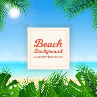 Praia tropical com design realista