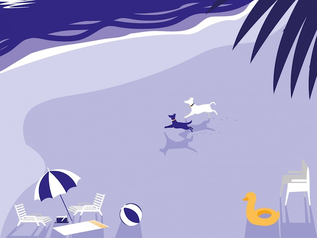 Praia tropical com mascote de cães e guarda-chuva