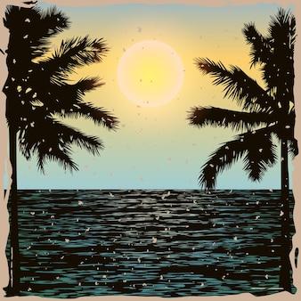 Praia tropical com palmeiras e sol sobre o mar padrão vintage exótico para camisetas com impressão em tecido de pôsteres