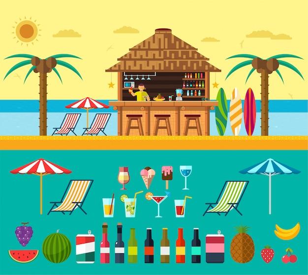 Praia tropical com uma barra na praia, férias de verão na areia morna com água clara. conjunto de bebidas e frutas exóticas