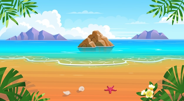 Praia tropical de verão com espreguiçadeiras, mesa com coquetéis, guarda-chuva, montanhas e ilhas.