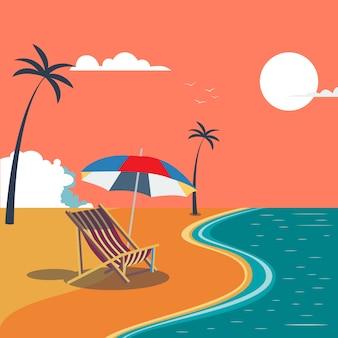 Praia tropical de verão com palmeiras e guarda-chuva