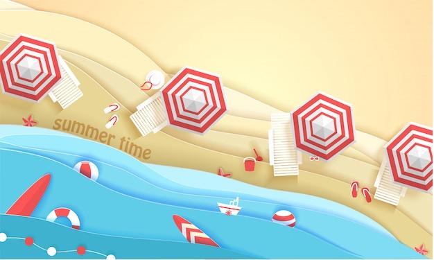 Praia tropical em estilo de arte de papel. ilustração de corte de papel de vista superior. modelo de cartaz do conceito de férias de verão. origami de artesanato.