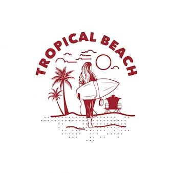 Praia tropical ilustração camiseta design mulher surfista poster vintage retrô