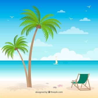 Praia tropical paradisíaca com design plano