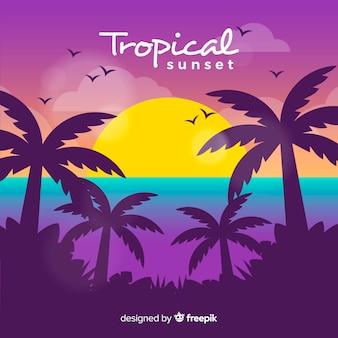 Praia tropical paradisíaca com lindo pôr do sol