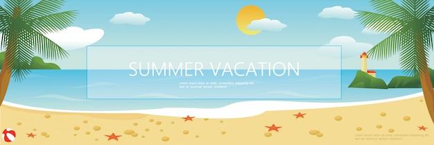 Praia tropical plana de fundo colorido com estrelas do mar palmeiras farol de bola de vôlei na paisagem do mar