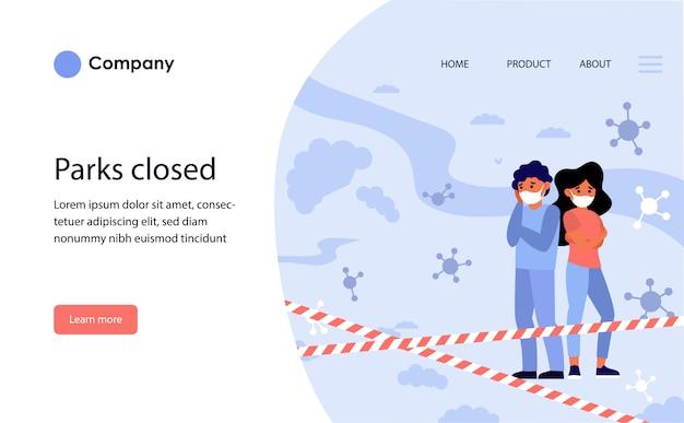 Praias públicas fechadas. modelo de site ou página de destino
