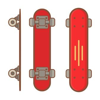 Prancha curta de skate vermelho.
