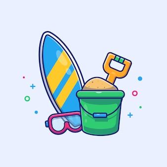 Prancha de surf com ilustração de balde de areia. esporte de praia verão. conceito de férias branco isolado
