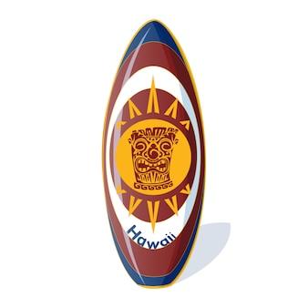 Prancha de surf com um padrão havaiano