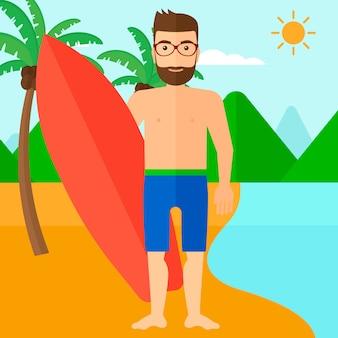 Prancha de surfista segurando