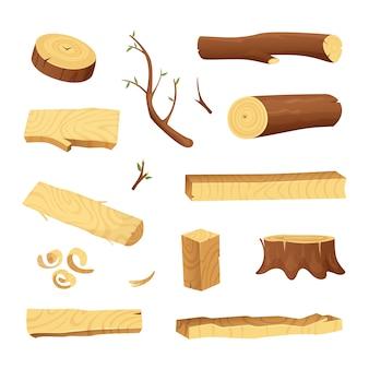 Pranchas de árvores e diferentes elementos de madeira para a indústria de produção