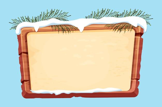 Pranchas de madeira com neve de papel pergaminho e galhos de pinheiro em estilo cartoon