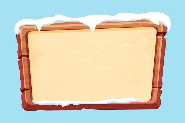Pranchas de madeira com papel pergaminho e neve em estilo cartoon isolado